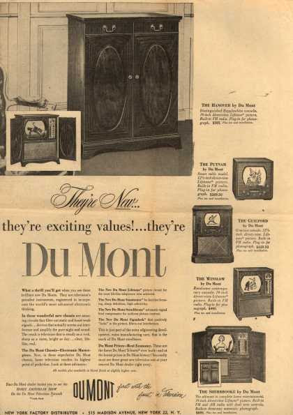 Allen B. DuMont Laboratorie's various – They're New... they're exciting values!... they're Du Mont (1950)