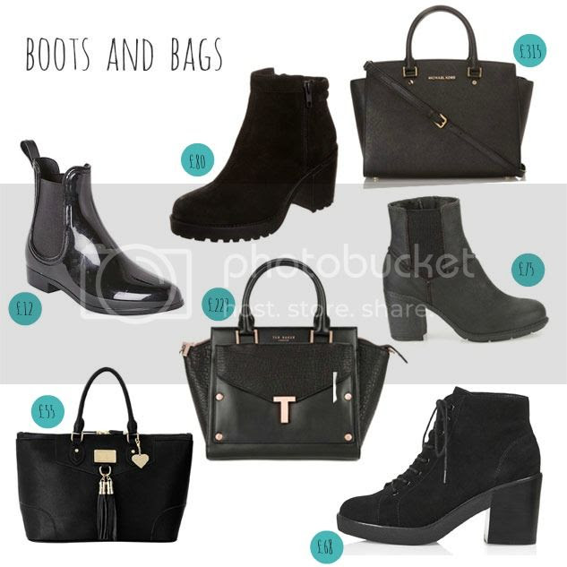 winter boots and bags