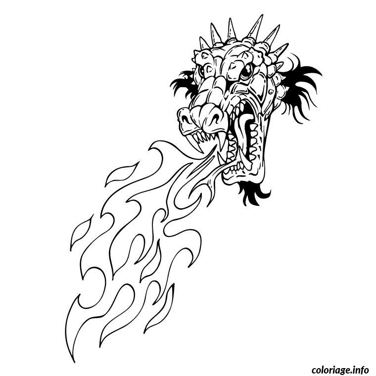 Coloriage Dragon Qui Crache Du Feu Jecoloriecom