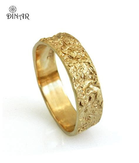 14k solid gold wedding band, Rustic 18k yellow gold ring