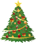 Large Transparent Christmas Tree with Ornaments and Candy Canes Clipart