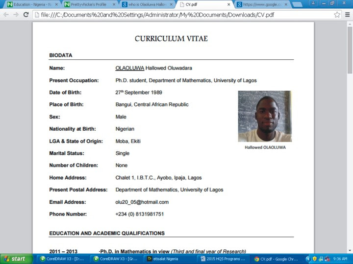 CV Of Africa's youngest PH.D holder Olaoluwa Hallowed Oluwadara (Screen Shot )