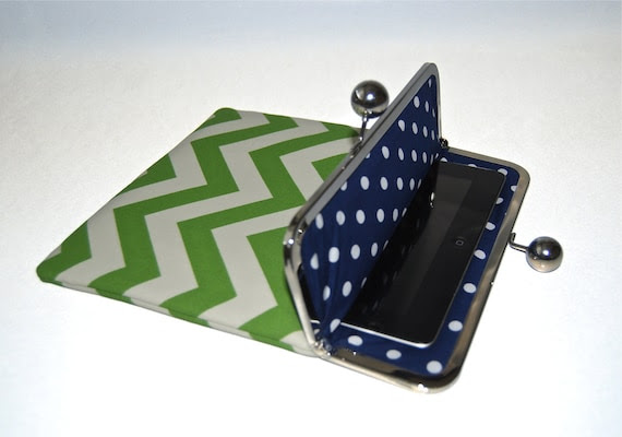 "Unique iPad and Kindle Fire HD Clutch Case ""Green Chevron"""