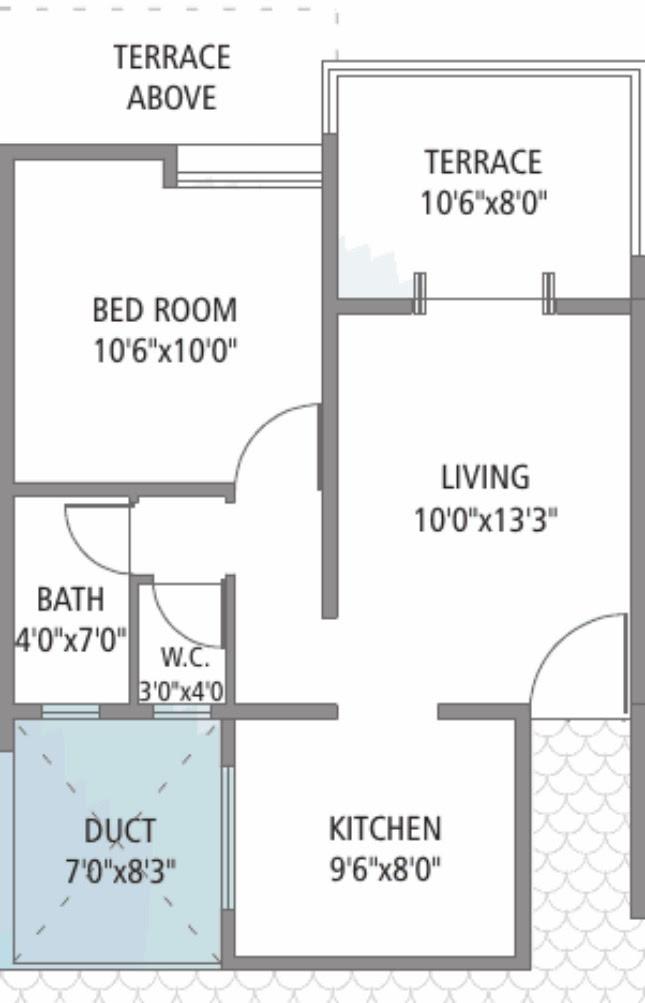 1 BHK Odd Floors 399 Carpet + 86 Terrace for Rs. 22.24 to 22.60 Lakhs