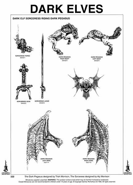 Hoja de catálogo de la Hechicera Elfo Oscuro y Pegaso Negro