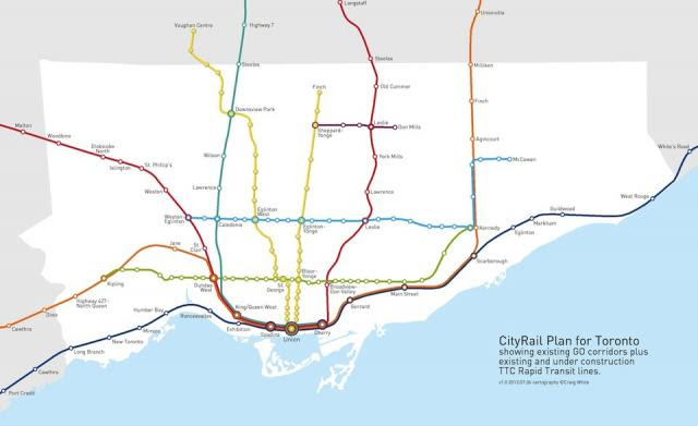 CityRail Plan for Toronto, cartography by Craig White