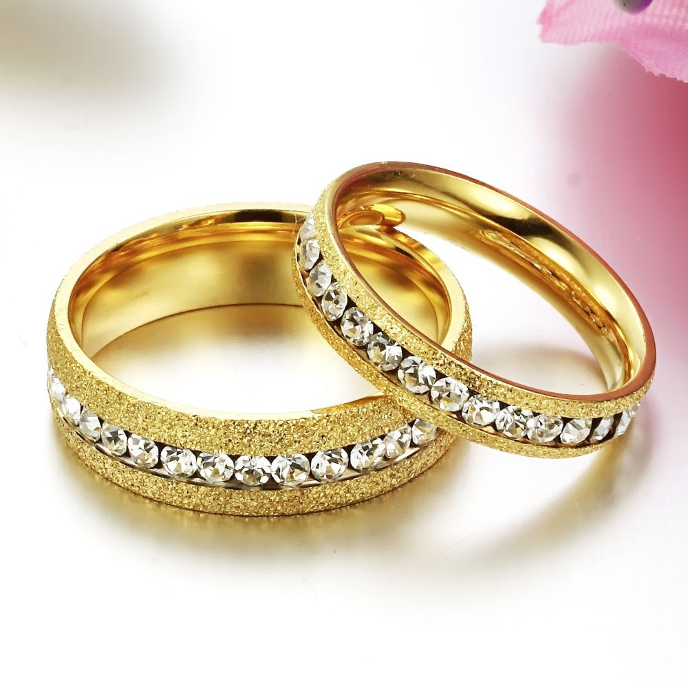 Anelli Diamanti Crystal Gold Wedding Rings For Men And Women His And Hers Promise Ring Sets