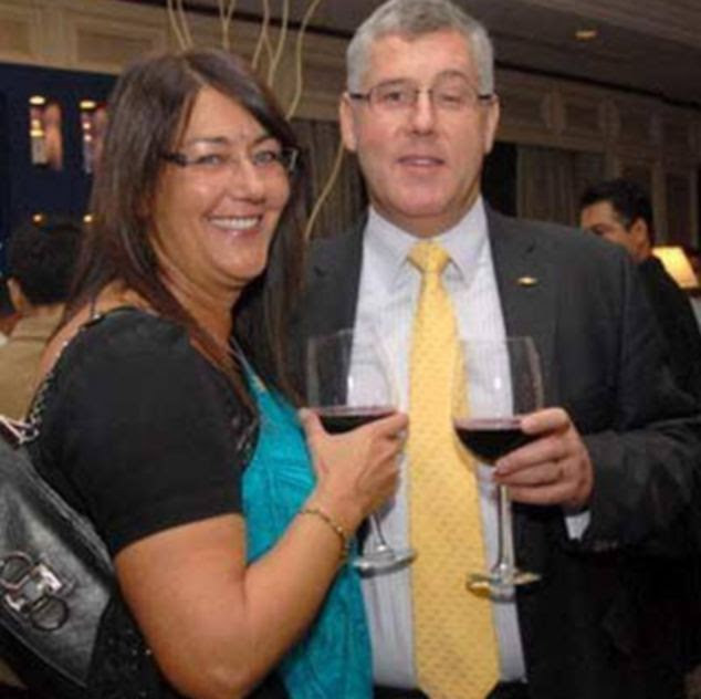 Karl Slym and his wife Sally during an awards ceremony in Dubai