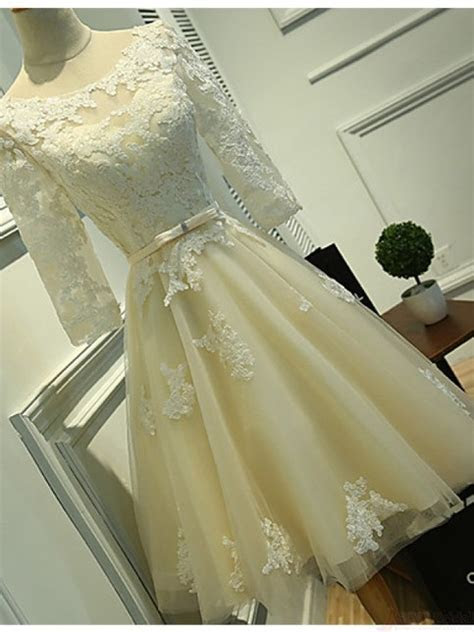 Long Sleeves Ivory Lace Tea Length Wedding Dresses, Cheap