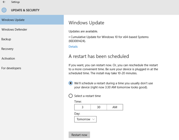 windows 10 update KB3081424 SR1
