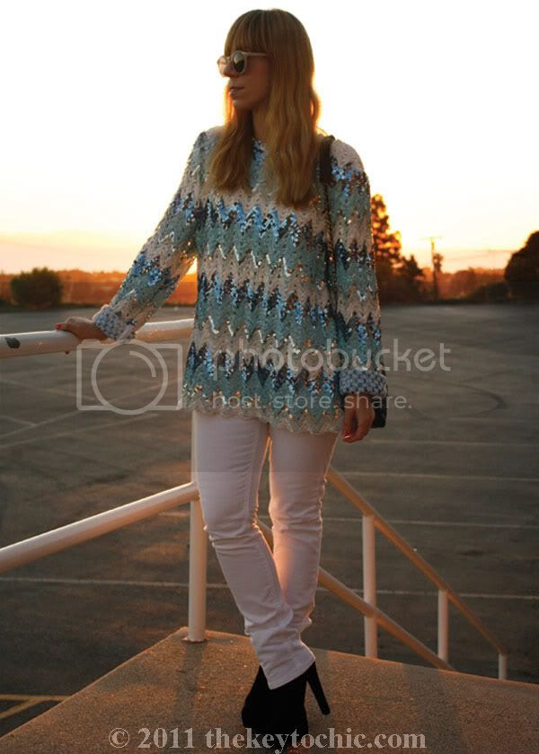 vintage sequin top, white skinny jeans, Bakers Susie boots, southern California fashion blogger