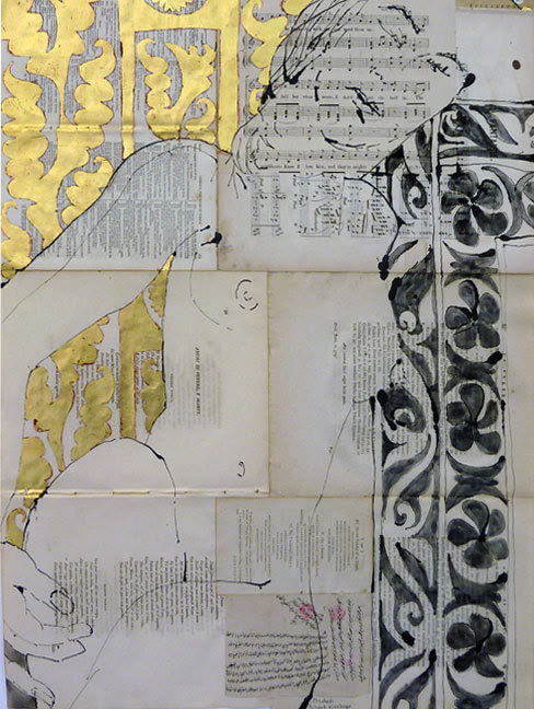 "iamjapanese: "" Robert Kushner(American, 1949) ELIZABETH 2010 From 30 Literary Nudes ACRYLIC, GOLD LEAF, OIL, INK, COLLAGE ON ANTIQUE PAPER """