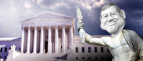 John Roberts, as Zeus, ruling from on high.
