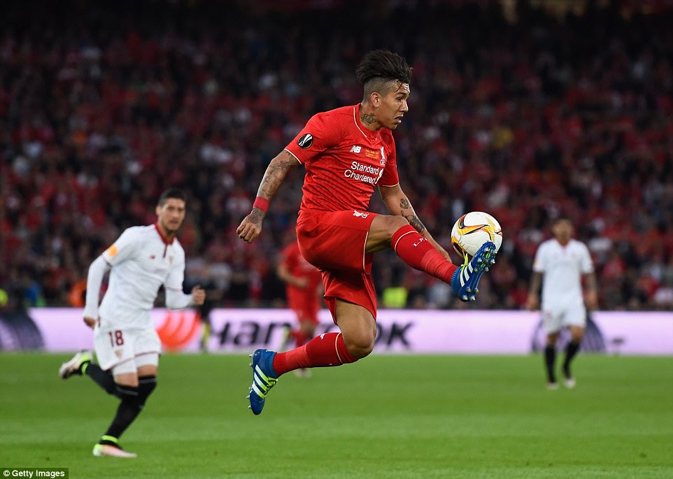 Brazilian forward Roberto Firmino brings the ball down acrobatically as Liverpool dominate the early exchanges