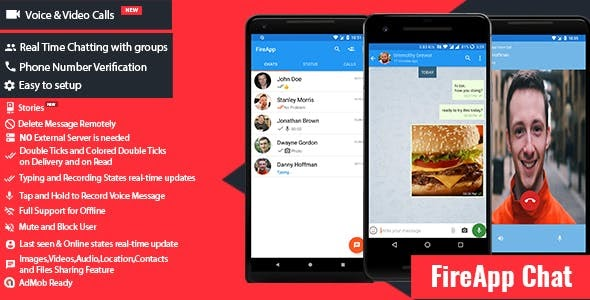 FireApp Chat v1.2.4 - Android Chatting App with Groups Inspired by WhatsApp