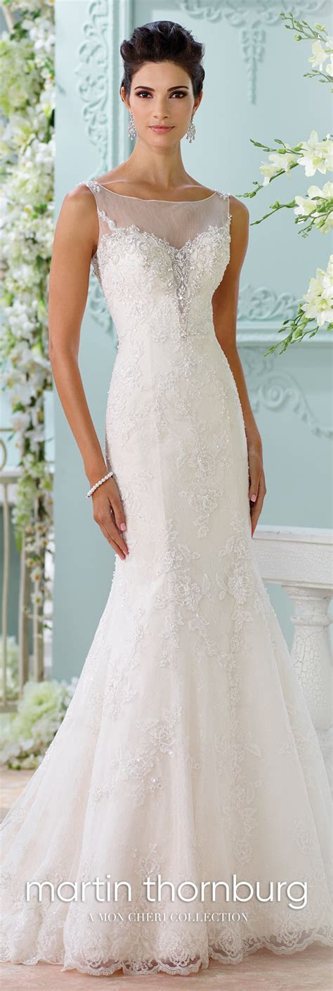 Illusion Beaded Neckline Fit & Flare Lace Wedding Dress