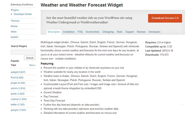 Weather and Weather Forecast Widget