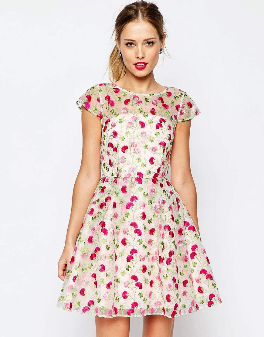Image 1 of ASOS SALON Pretty Floral Embroidered Mini Skater Dress
