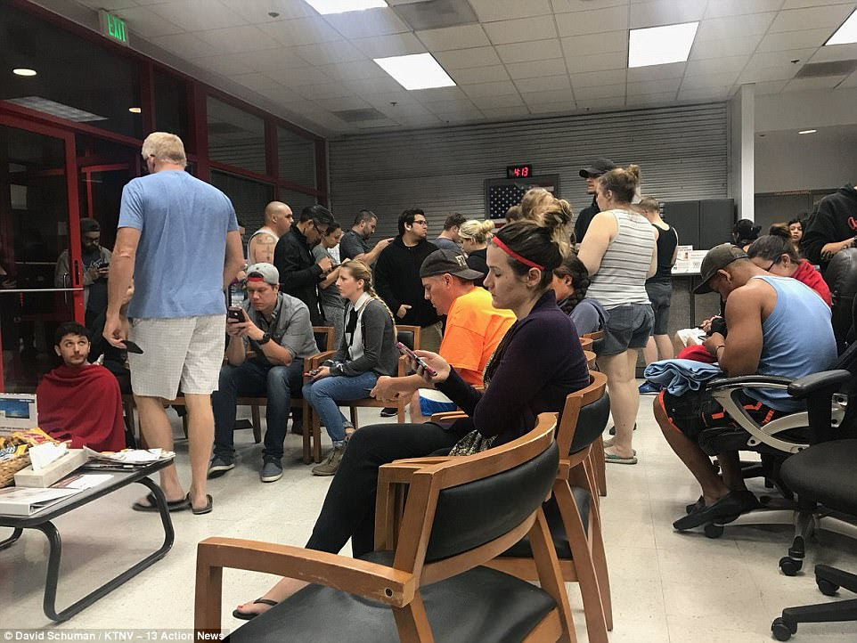 Above, the scene inside one blood donation center on Monday after the shooting