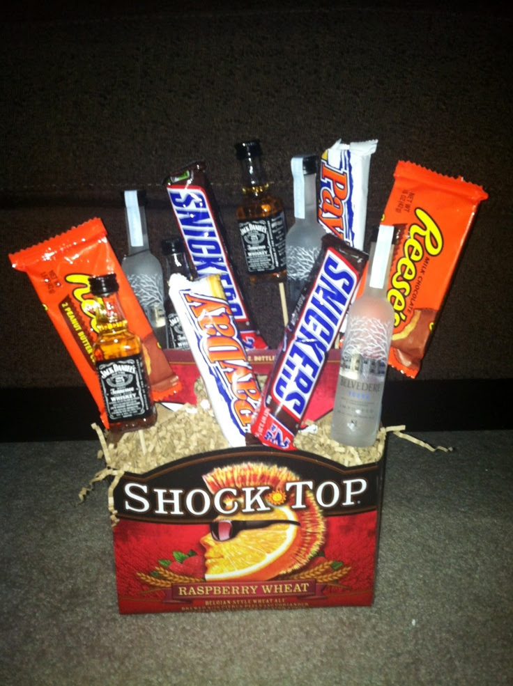 this for my boyfriends 21st birthday. Little twist on a gift basket ...