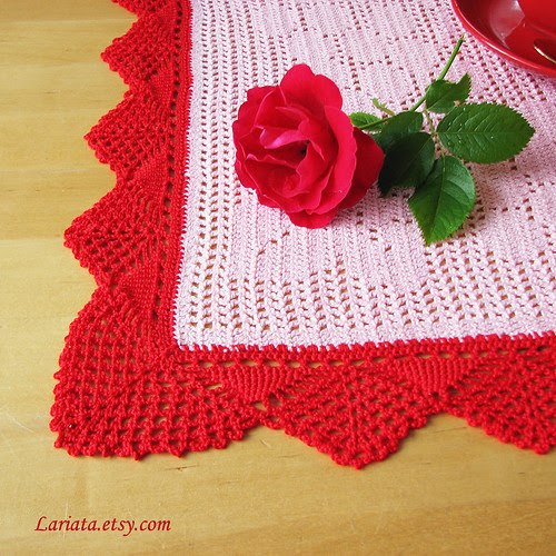 crocheted doily with vintage crocheted lace