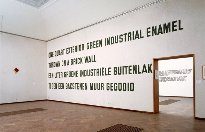 Lawrence Weiner, One Quart Exterior Industrial Enamel Thrown on a Brick Wall, 1968