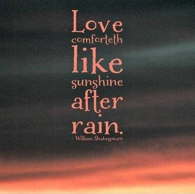 Love Comforteth Like Sunshine After Rain Picture Quotes