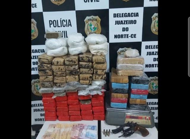 Polícia Civil de Juazeiro do Norte através do Núcleo de Combate ao Tráfico de Drogas (NCTD) apreende cerca de 70 quilos de drogas