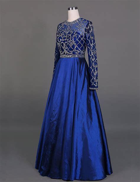 Elegant A line Cowl Neck Long Sleeves Royal Blue Prom