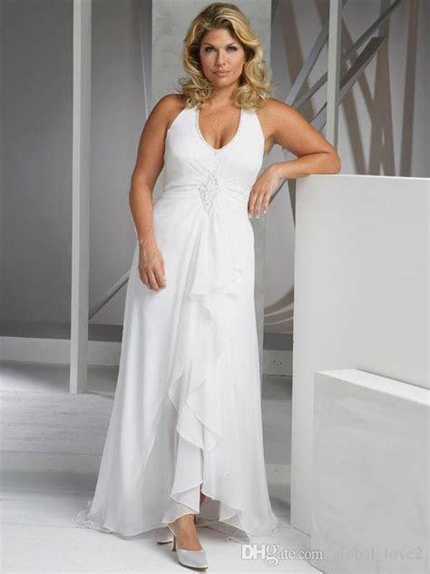 2016 Beach Plus Size Wedding Dresses Cheap V Neck Halter