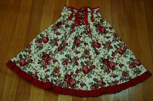 Lolita Closet Count! Skirts: Red - Bodyline Floral High Waist Skirt