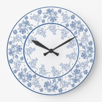 Custom Indigo on White Floral Border Wall Clock