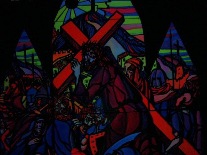 Russisch Orthodoxes Altarbild - Glasmalerei in Schwarzlicht gehalten aus St.Petersburg