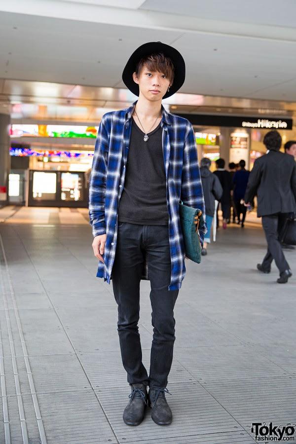 Shibuya Guy in WEGO Plaid Shirt Jacket