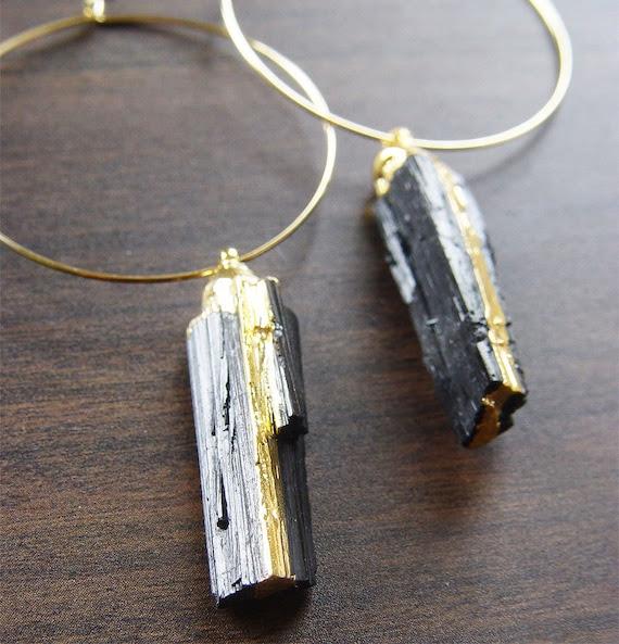 Black Tourmaline Gold Earrings Hoops