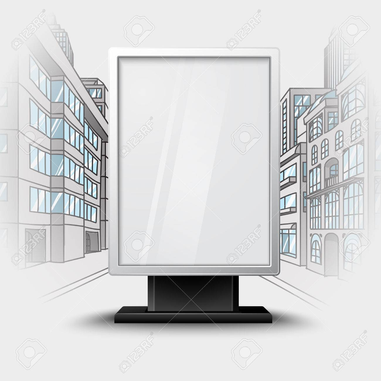 Blank White Vertical Billboard On City Scape Blueprint, With ...