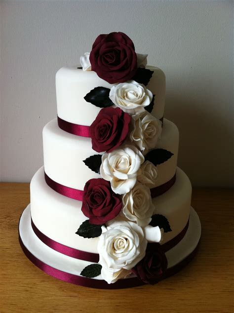 Burgandy and Ivory Rose cake   Wedding Cakes   Pinterest