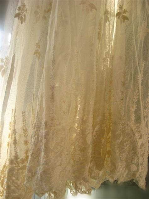ivory Lace fabric Embroidered tulle lace fabric vintage