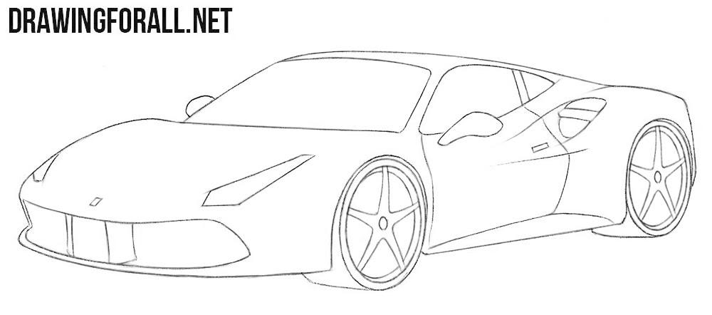 How To Draw A Ferrari Easy Drawingforallnet