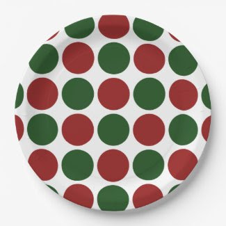 Red and Green Polka Dots on White 9 Inch Paper Plate
