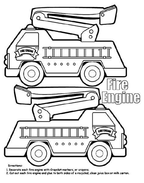 Fire Engine Box Coloring Page | crayola.com