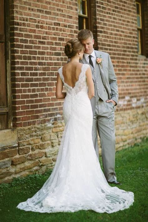 Lace wedding dress, rustic wedding, gray suit   Dream