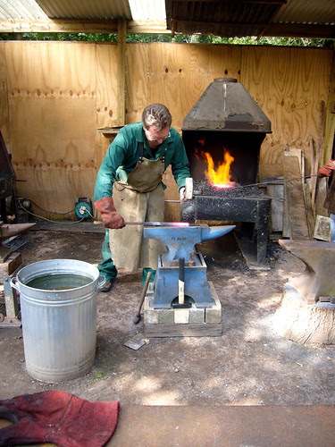 Jim making metal sculptures