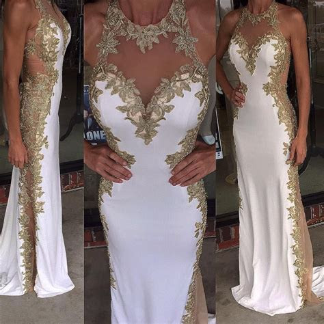 2016 White Prom Dresses Long With Gold Details And See