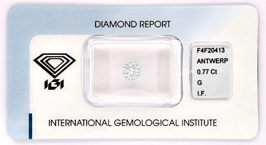 Foto 1, Diamant IGI Brillant 0,77 Lupenrein feines Weiss Juwel!, D5766