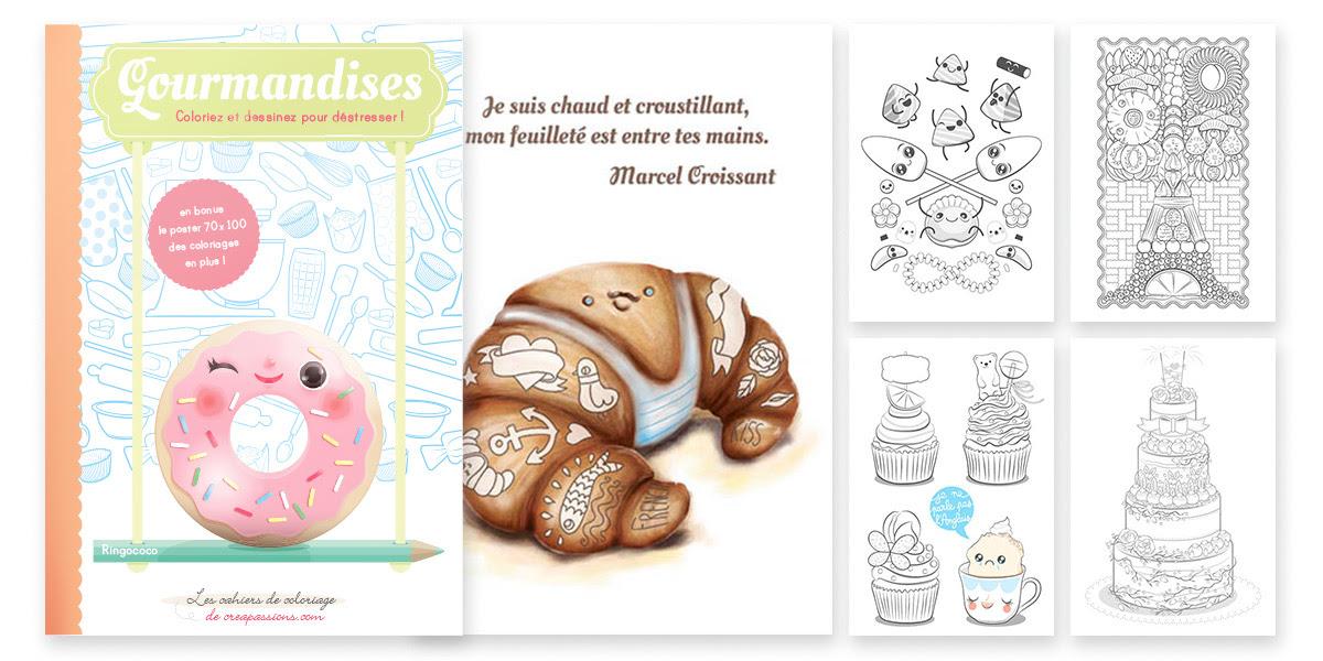 Couverture et extraits du livre de coloriages pour adultes Gourmandises coloriez et dessinez pour