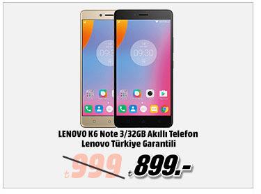 LENOVO K6 Note 3/32GB Akıllı Telefon Lenovo Türkiye Garantili 899TL