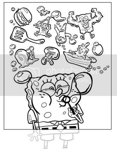Inked cover art - drawing made with Adobe Illustrator for SpongeBob SquarePants Magazine