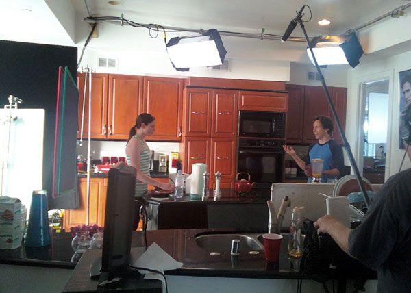Rachel Nichols films a scene inside the mansion's kitchen.