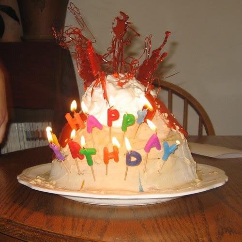 Volcano Ice Cream B-Day Cake